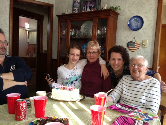 Mom's 64th birthday - and 4 generations of tough ladies!