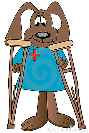 cartoon-dog-holding-crutches-4589354