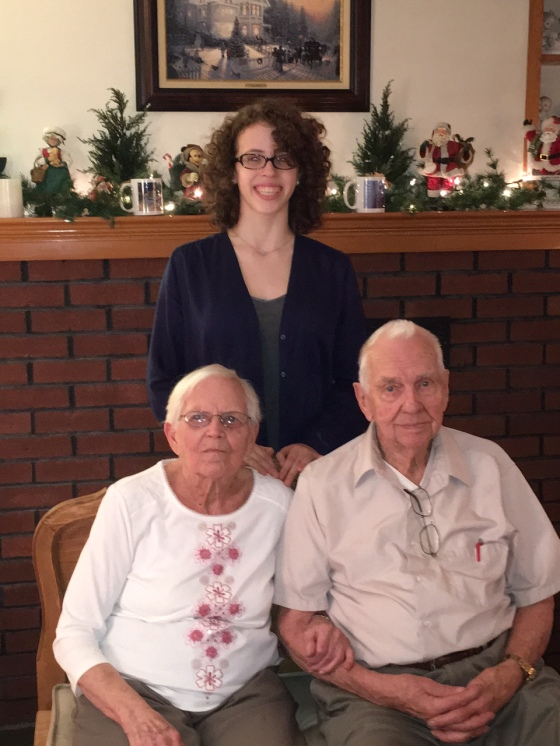 Meghan with her Great-Grandparents 2015